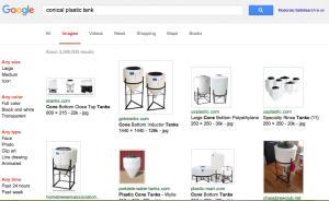 google conical plastic tank